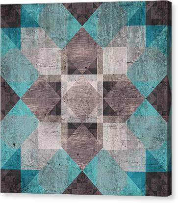 Aqua Brown Quilt Canvas Print