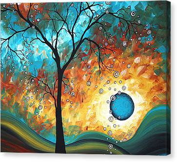 Aqua Burn By Madart Canvas Print by Megan Duncanson