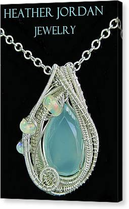 Aqua Chalcedony Wire-wrapped Pendant In Sterling Silver With Ethiopian Welo Opals Qchlcpss1 Canvas Print by Heather Jordan
