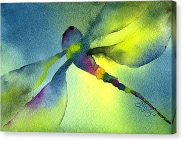 Aqua Dragonfly Canvas Print by Gladys Folkers