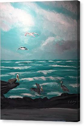 Aqua Marine Seaside Canvas Print by Terry Tuley