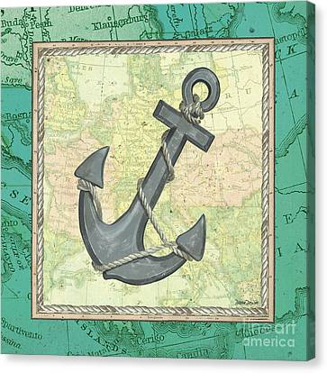 Navy Canvas Print - Aqua Maritime Anchor by Debbie DeWitt