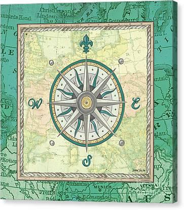 North East Canvas Print - Aqua Maritime Compass by Debbie DeWitt