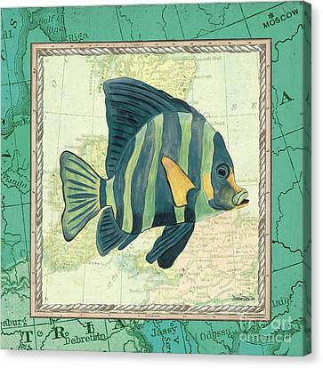 Marine Canvas Print - Aqua Maritime Fish by Debbie DeWitt