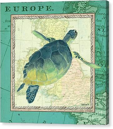 Aqua Maritime Sea Turtle Canvas Print by Debbie DeWitt
