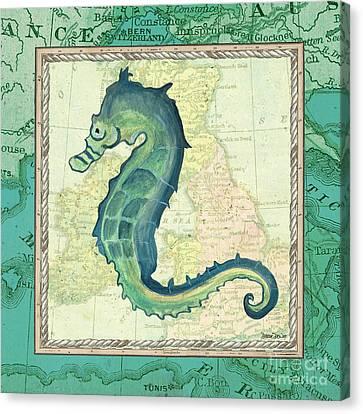 Aqua Maritime Seahorse Canvas Print by Debbie DeWitt