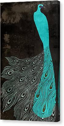 Peafowl Canvas Print - Aqua Peacock Art Nouveau by Mindy Sommers
