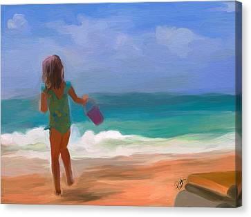Beach Pails Canvas Print - Aqua Seas by Patti Siehien