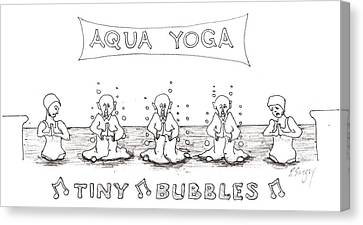 Canvas Print featuring the drawing Aqua Yoga by R  Allen Swezey
