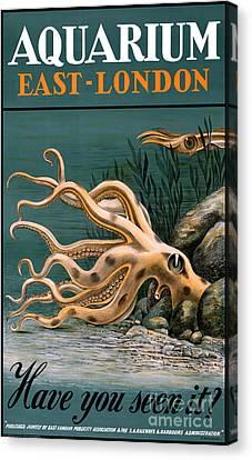 Aquarium Octopus Vintage Poster Restored Canvas Print