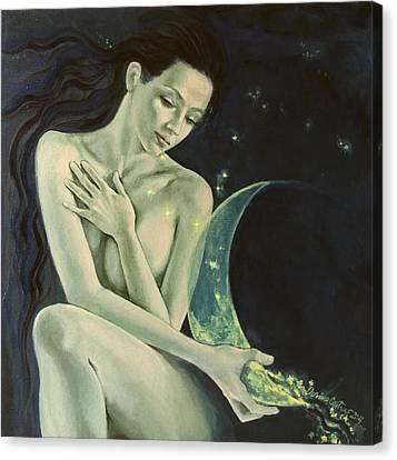 Aquarius From  Zodiac Signs Series Canvas Print by Dorina  Costras