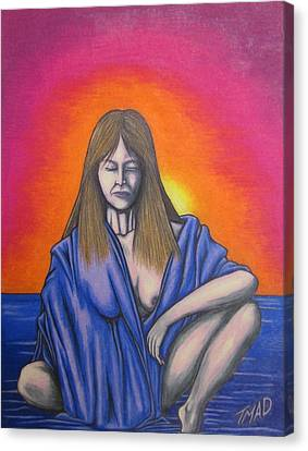 Canvas Print featuring the drawing Aquarius by Michael  TMAD Finney