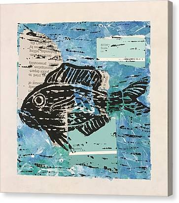 Lino-cut Canvas Print - Aquarius by Sara Marquardt