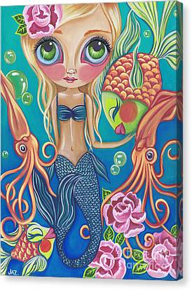 Flower Pink Fairy Child Canvas Print - Aquatic Mermaid by Jaz Higgins
