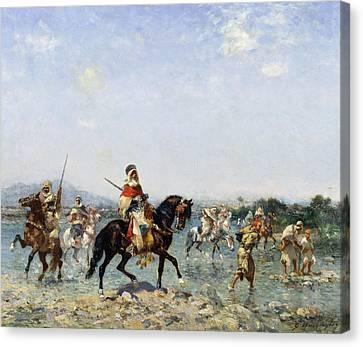 Arab Cavalry Fording A Stream Canvas Print by Georges Washington