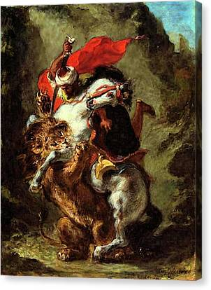 Canvas Print featuring the painting Arab Horseman Attacked By A Lion by Eugene Delacroix