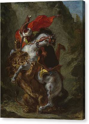 Arab Horseman Attacked By A Lion Canvas Print by Ferdinand Victor Eugene Delacroix