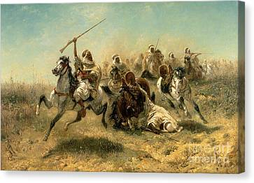 Arab Horsemen On The Attack Canvas Print by Adolf Schreyer