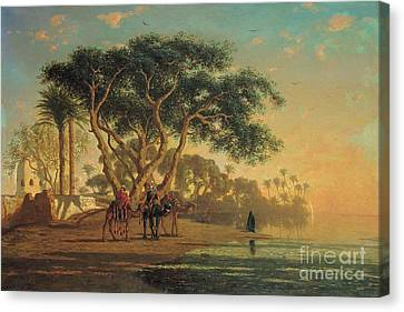 Setting Canvas Print - Arab Oasis by Narcisse Berchere
