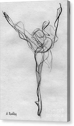 Ballet Dancers Canvas Print - Arabesque Bright by Ann Radley