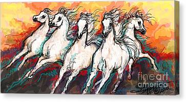 Arabian Sunset Horses Canvas Print