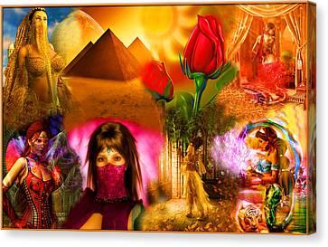 Rubaiyat Canvas Print - Arabic Ladies Veiled Collage by Austin Torney