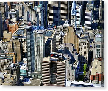 Canvas Print featuring the photograph Aramark Psfs Buildings 1101 Market St Philadelphia Pa 19107 2926 by Duncan Pearson