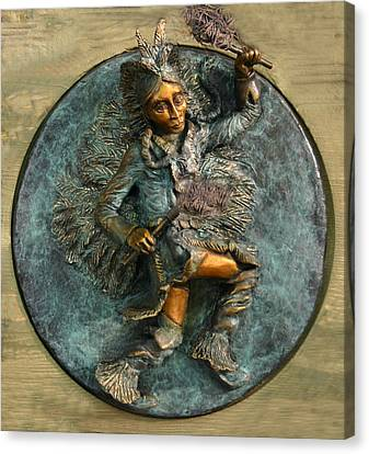 Canvas Print featuring the relief Arapaho Dancer From Snowy Range Life  by Dawn Senior-Trask