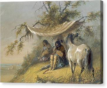 Arapahos Canvas Print by Alfred Jacob Miller