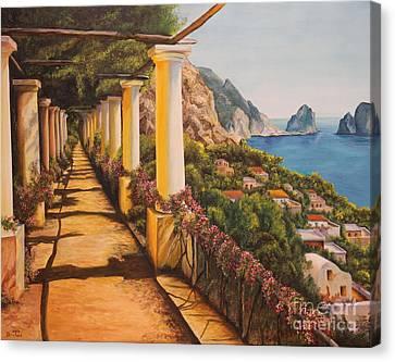 Arbor Walk In Capri Canvas Print by Charlotte Blanchard