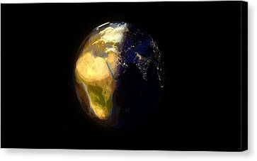 Arbstract - Day And Night On Earth Canvas Print by Celestial Images