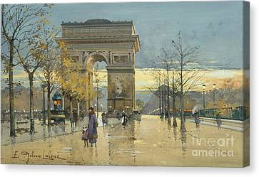 Arc De Triomphe Canvas Print by Eugene Galien-Laloue