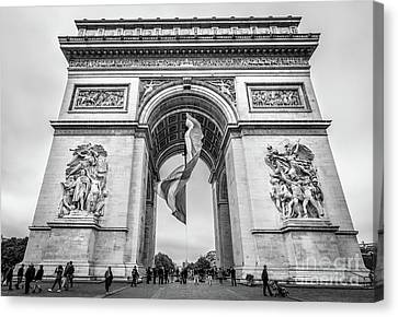 Arc De Triomphe With French Flag, Paris, Blk Wht Canvas Print by Liesl Walsh