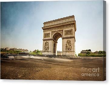 Canvas Print featuring the photograph Arc De Triumph by Hannes Cmarits