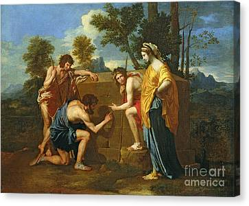 Arcadian Shepherds Canvas Print by Nicolas Poussin