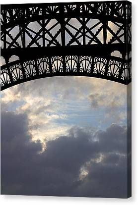 Arch At The Eiffel Tower Canvas Print by Heidi Hermes