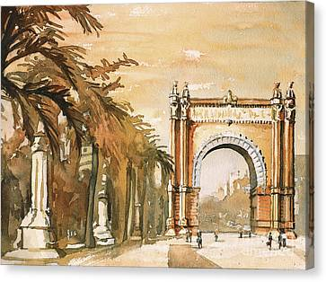 Canvas Print featuring the painting Arch- Barcelona, Spain by Ryan Fox