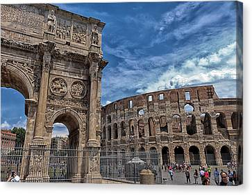 Arch Of Constantine And Roman Colosseum Canvas Print by Travis Rogers