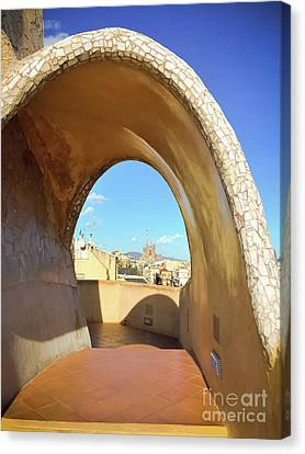 Canvas Print featuring the photograph Arch On The Rooftop Of The Casa Mila by Colleen Kammerer