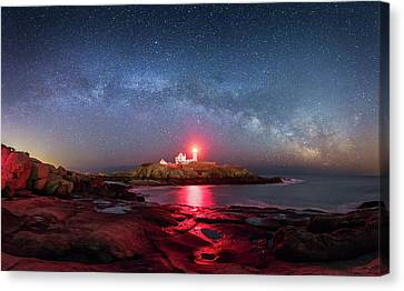 Nubble Lighthouse Canvas Print - Arch Over Nubble - Panorama by Michael Blanchette