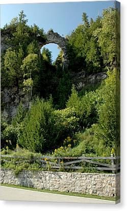 Canvas Print featuring the photograph Arch Rock Mackinac Island by LeeAnn McLaneGoetz McLaneGoetzStudioLLCcom