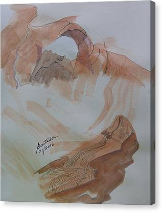 Canvas Print featuring the painting Arch Rock - Sketchbook Doodle by Joel Deutsch