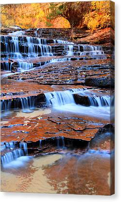 Archangel Falls In Zion Canvas Print by Pierre Leclerc Photography