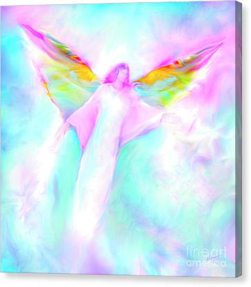 Archangel Gabriel In Flight Canvas Print by Glenyss Bourne