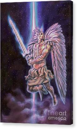 Canvas Print featuring the painting Archangel Michael - Starstuff by Dave Luebbert