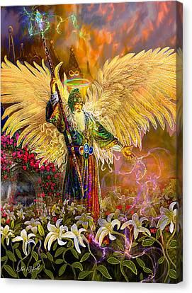 Archangel Raziel-angel Tarot Card Canvas Print by Steve Roberts