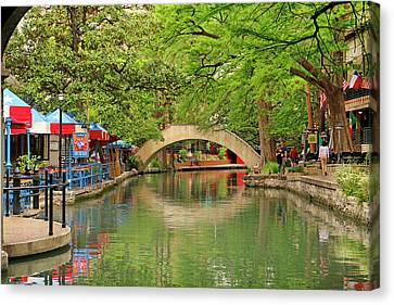 Canvas Print featuring the photograph Arched Bridge Reflection - San Antonio by Art Block Collections