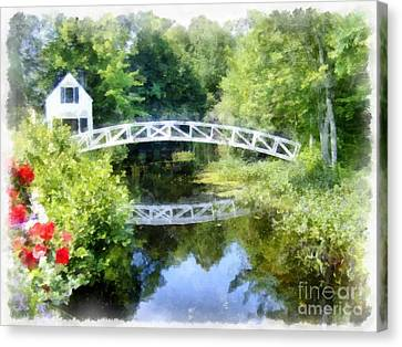 Arched Wooden Foot Bridge Mount Desert Island Acadia Maine Canvas Print