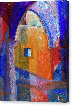 Canvas Print featuring the painting Arches And Window by Walter Fahmy