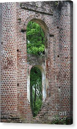 Civil War Site Canvas Print - Arches Of Old Sheldon Church Ruins by Carol Groenen